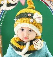 Wholesale Unisex Children Five pointed Star Patch Stripe Beanies Hat Set Baby Kids Knitted Caps and Scarf Winter Warm Suit Set MZ2229