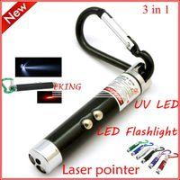Cheap car dvr EMS Free Shipping LED Flashlight + Laser Pointer + UV torch Keychains wholesale Laser Pointer keychains