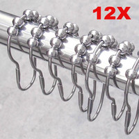 Wholesale Hot Sale pack Set Package Polished Satin Nickel Roller Ball Shower Curtain Rings Hooks PTSP for