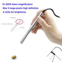 4 LED USB Lupas Fe Aumento 200X portátil Manual digital de 5MP Pen Mini HD cámara Foco endoscopio del microscopio de la lupa con el trípode