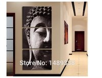 Cheap 3 Panel Wall Art Religion Buddha Oil Style Painting On Canvas Room Panels For Home Modern Decoration art print picture