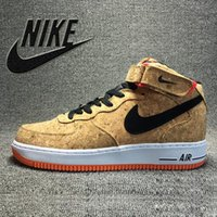 Men air force ones - Nike Air Force Mid Cork Men Sports Skateboarding Shoes Cheap Nike Air Force one AF1 Wooden Shoes size