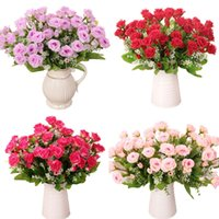 Wholesale New Beauftiful Charming Head Rose With Waterdrop Real Touch Artificial Silk Flowers Party Wedding Decoration