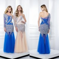 Wholesale 2015 Custom Made Gossip Girl Prom Dress Royal Blue One Shoulder See Through Long Sleeve Full Sparkling Crystals Mermaid Evening Gowns