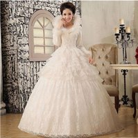 wedding dresses long sleeved - 2015 New Arrival Charming Bridal Gowns winter wedding dresses new wedding dress winter models quilted long sleeved wedding dres A502