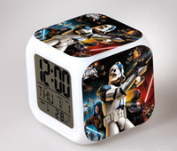 Wholesale Star Wars disigns LED Digital Alarm Clock Colors Change Darth Vader clock with nightlight Thermometer Calendars E229