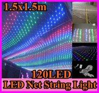 Noël LED Lumière Nette de 120 LED 9 modes de flash Web Fée des Lumières de 1,5 m x 1,5 m de Chaîne de Led décoration+Puissance plug110/220V UE-états-unis