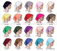 Wholesale Fashion Muslim Women Cover Inner Hijab Scarves Woman Solid Color Plain Underscarf Cap Scarf Mixed Colors Mercerized Cotton Ladies Caps