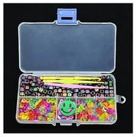 Wholesale C S Stud - 200pcs Alphabet Beads+100pcs C-Clips +100pcs S-Clips +Charm Pendant +3PcsHook +1pc Storage Box For DIY Rubber Loom Band 4Z149