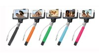 Wholesale D09 Plus Wired Selfie Monopod with rear mirror Clip Holder wire selfie stick built in remote button for iPhone plus ios android S5 NOTE