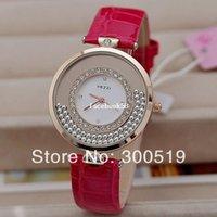 Cheap JW292 KEZZI Brand Japan Movement 18K Gold Plated Women Dress Watch Rolling Beads Quartz Watch High Quality PU Leather Clock