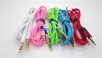 Wholesale 3 mm m ft AUX audio cables male to male Stereo Car Extension audio Cable for MP3 for phone colorful