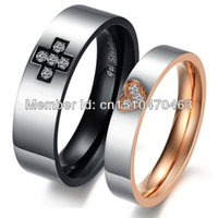 Wholesale fashion men women cross and heart rings stainless steel cute Couple Jewelry his and her promise ring