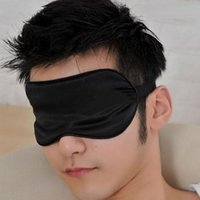 Wholesale New Men Women Black Blindfold Soft Satin Sleep Mask Eye Mask Blind fold Block Out Light for Travel Shift Work Meditation