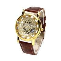 Wholesale Greek Numerals Dial Watches Cool Men Retro Hollow quartz Watch Leather Vine Skeleton Wheel Gear Totem Watch