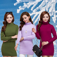 Wholesale Sheep Cashmere Dress For Women High Lapel Autumn Winter Colors High Quality Cashmere Sweater Dress Knitwear Pullover LM003