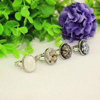 Wholesale 50pcs Mix Gemstone Rings Ancient Silver Ring Fashion Jewelry Vintage Style Rings