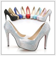 rhinestone shoes - 2015 High heels silver white red blue black gold champage sky blue Rhinestone Shoes wedding shoes Bridal Shoes Luxury Crystal Diamonds Shoes