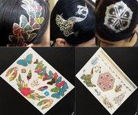 Wholesale 6Pcs Newest Hair Tattoo Sticker Gold Headband Temporary Tattoo Designs Flash Metallic Tattoos