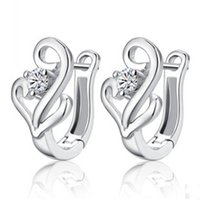 sterling silver earrings - High end Fashion Sterling Silver Jewelry Popular Movement Earrings For Women Luxury White Top Cubic Zircon Earring High Quality