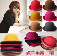 vintage hat lot - 12 colors women men curling woolen hat winter fashion vintage dome caps round hat skullcaps Small Fedora Hats jazz hat