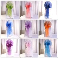Wholesale Wedding party hotel chair back flower bow satin chair back yarn decorative ribbon flower props HY00275
