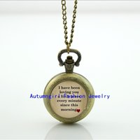 Wholesale I LOVING YOU Every Minute Watch Mini Glass Locket Necklace Antique Pocket Watch Necklace WT
