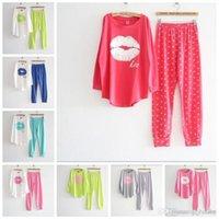 100% cotton pajamas - Autumn winter pink cotton long sleeve length pants Long Sleeve Women winter Cotton Pajamas Sleepwear red lips lounge set