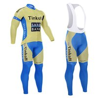 Wholesale Brand new tinkoff Saxo bank cycling jersey breathable bicicleta bike clothing Quick Dry long sleeve bicycle cycling wear cycling bib pants