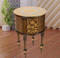 Wholesale Cheap European dark coffee table round coffee table resin complex classical American minimalist living room coffee table carved