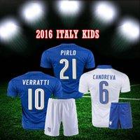 Wholesale Crianças Italia meninos azul DE ROSSI VERRATTI camisetas uniforme ajustado ninos Italia blanco ausente CHIELLINI Camiseta