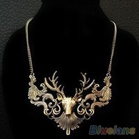 Wholesale Hot Sale Retro Bronze Antique Silver Deer Head Pendant Necklace Great Gift for Men Jewelry DY