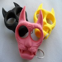 Wholesale 2015 Self Defense Tiger Head Novelty Keychain Defend Key Chain Chaveiro Key Ring Holder key rings cheap
