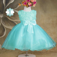 rosettes chiffon - 2014 summer girls casual dress Multi colored rosette chiffon dress with bowknot New style girls princess dress