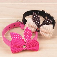 Wholesale Knit Bowknot Adjustable Leather Wool bows pet plush butterfly collars cat laps dog Puppy PU collars supplies Products favors
