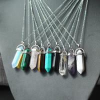 venda por atacado stone-Natural Pedra Forma Bullet Pingente Colares Aço Inoxidável / Couro Correntes Hexagonal Prism Cristal Cruz Cristal Jóias para homens mulheres