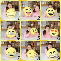 Wholesale 10pcs Styles Soft Emoji Smiley Emotion Cushion Pillow Stuffed Plush Toy Doll Christmas Present Cartoon Facial Creative Pillows
