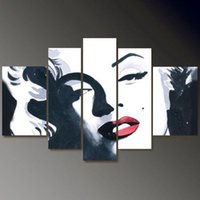 Wholesale Hand Painted Abstract Portrait Large Canvas Paintings Oil Modern Picture Marilyn Monroe Sunset Scenery Tiger Wall Art Home Decor Set