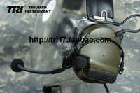 prc 152 - TRI Comtac III tactical C3 Dual Com Pickup Noise Reduction Headset OD Color For TRI PRC PRC