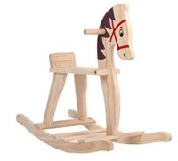 Wholesale Small wooden horse rocking chair baby toy rocking horse toy children Trojan rocking horse wood toy