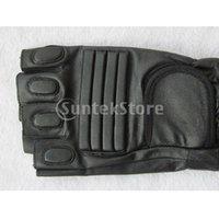 Wholesale Men s Black PU Leather Half Finger Gloves