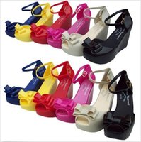 Wholesale 5 colors Hot Fashion sandals Lady Melissa high heels platform wedge pumps Jelly Shoes with buckle Fish head sandals LJJC472 pairs