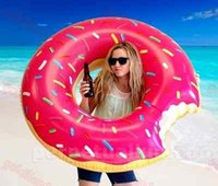 Wholesale 47 inch m Pink Inflatable Donut Swimming Rings Summer Pool Floats