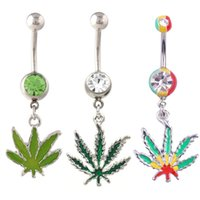 Wholesale Mix Design Rasta Pot Leaf Jamaican Gem Belly Ring Navel Ring Body Piercing Jewelry Belly Bars Rhinestones Belly Button Rings