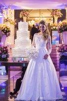 Wholesale Wedding Dresses Real Images Off Shoulder Bateau Long Sleeves Lace Appliqued Beading Vintage Court Train Pearls Sheer Wedding Dress13798