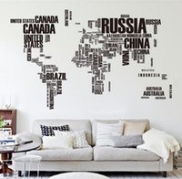 Wholesale Quote Removable Letter World Map Vinyl Decal Art Mural Home Decor Wall Stickers