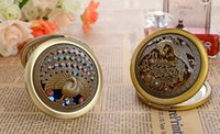 ancient bronze making - Ancient bronze hollow out double folding portable metal Engraved Crystal Magnifying Multi Color Make Up Mirror Wedding Favor Gift