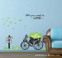 basket wallpapers - Flower basket and bike PVC stickers Wall Decal Cartoon Wallpaper Creative Room Sticker House Decoration cm