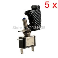 Wholesale 12V A Car Auto Cover Toggle Switch Control On Off Carbon Fiber SPST Red Green Yellow White Blue Led Color order lt no track