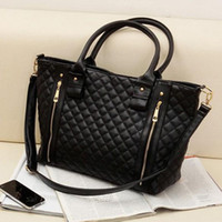 other quilted handbags - New Fashion hot sale Black Women Office Lady Quilted synthetic leather Tote Handbag Shoulder Bags SV000153